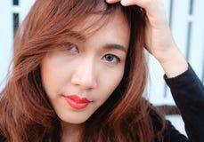 Sluit gezichts omhoog Aziatische schoonheid Stock Foto's
