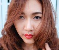 Sluit gezichts omhoog Aziatische schoonheid Royalty-vrije Stock Afbeeldingen