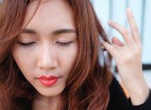 Sluit gezichts omhoog Aziatische schoonheid Stock Fotografie