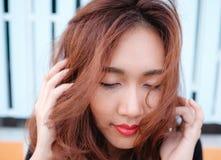 Sluit gezichts omhoog Aziatische schoonheid Stock Afbeeldingen