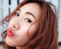 Sluit gezichts omhoog Aziatische schoonheid Royalty-vrije Stock Fotografie