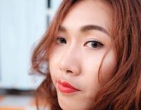 Sluit gezichts omhoog Aziatische schoonheid Royalty-vrije Stock Foto's