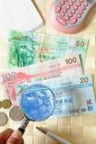 Sluit het Geld van meningsHongkong met oogglazen stock afbeeldingen