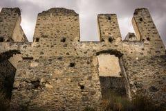 Sluit Kayakoy-omhoog huisdetail, Fethiye, Mugla, Turkije Spookstad Kayaköy, die in vroeger tijden als Lebessos en Lebessus wordt stock afbeelding