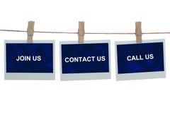 Sluit me aan bij ons contacteren ons roepen ons Stock Foto's