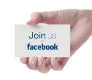 Sluit me aan bij ons op Facebook Stock Foto