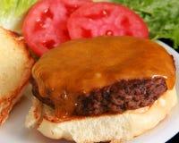 Sluit nadruk op een cheeseburger stock fotografie