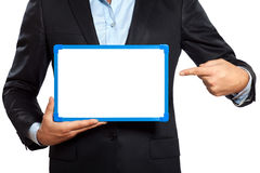 Sluit omhoog één holding die van de bedrijfsmensenhand whiteboard tonen Stock Foto