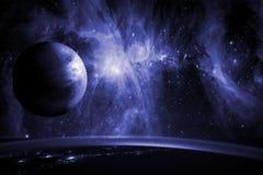 Sluit omhoog aardebiosfeer in ruimte met sterren en melkweg op achtergrond Elementen van dit die beeld door NASA wordt geleverd F stock fotografie