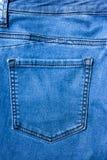 Sluit omhoog Achter het denim van de jeanszak textuur als achtergrond Royalty-vrije Stock Afbeelding