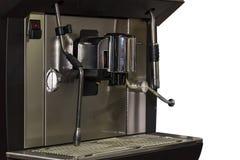 Sluit omhoog automatische zwarte koffiemachine op witte achtergrond stock fotografie