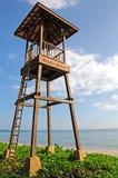Sluit omhoog badmeestertoren op het strand Stock Afbeelding
