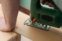 Sluit omhoog beeld van een elektrische figuurzaag Stock Fotografie