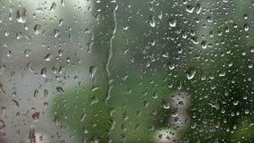 Sluit omhoog beeld van regendalingen die op een venster vallen stock video