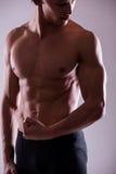 Sluit omhoog beeld van spier perfect mannelijk torso stock fotografie