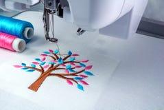 Sluit omhoog beeldwerkruimte van borduurwerkmachine Royalty-vrije Stock Afbeelding