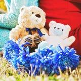 Sluit omhoog beerspeelgoed en bloemen Stock Foto's