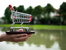 Sluit omhoog boodschappenwagentje op de mobiele telefoon, zaken in elektronische handelconcept Stock Fotografie