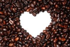 Sluit omhoog de Boon van de Koffie van de Vorm van het Hart Royalty-vrije Stock Afbeelding