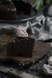 Sluit omhoog de donkere plak van de chocoladecake Royalty-vrije Stock Foto's
