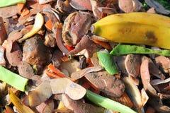 Sluit omhoog de inhoud van de compostbak recycling Royalty-vrije Stock Foto's