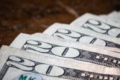Sluit omhoog de Macrorekening van Geld Amerikaanse Twintig Dollar royalty-vrije stock afbeelding