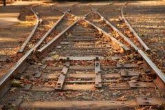 Sluit omhoog de schakelaar van spoorwegsporen stock foto's