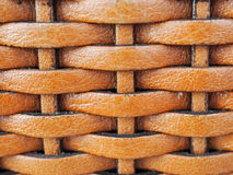 Sluit omhoog de textuurachtergrond van het weefselleer, in bruine kleur Royalty-vrije Stock Afbeeldingen