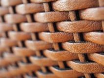 Sluit omhoog de textuurachtergrond van het weefselleer, in bruine kleur Royalty-vrije Stock Foto's