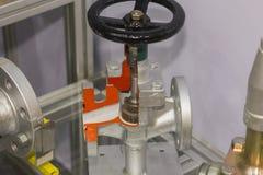 Sluit omhoog detail binnen van bolklep voor industrieel bij fabriek stock afbeelding