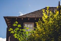 Sluit omhoog detail van een oud Engels plattelandshuisje met sommige installaties in Th royalty-vrije stock foto's