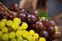 Sluit omhoog diverse druiven: rode, witte en zwarte bessen op de donkere houten lijst met rieten mand op de achtergrond Selectiev Stock Foto's