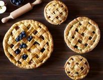 Sluit omhoog Eigengemaakte de pasteibakkerij van de gebakjeappeltaart op donkere houten keukenlijst met rozijnen, bosbes en appel Royalty-vrije Stock Afbeeldingen