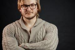Sluit omhoog foto jock in glazen die sweater dragen stock afbeeldingen
