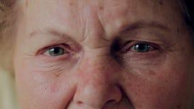 Sluit omhoog foto van bejaardeoog Hoger portret, gelukkige oude vrouw met oogglazen die en camera glimlachen bekijken stock videobeelden