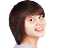 Sluit omhoog geïsoleerde portret van gelukkige tiener Royalty-vrije Stock Afbeelding