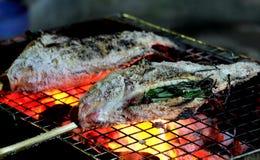 Sluit omhoog geroosterde verse fishs met zout Royalty-vrije Stock Afbeeldingen