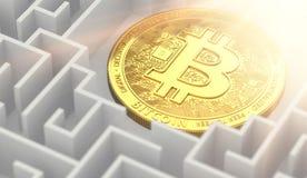 Sluit omhoog geschoten op Bitcoin ergens bepalend in het labyrint Wat van cryptocurrenciesconcept toekomstig zou zijn het 3d teru stock illustratie