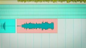 Sluit omhoog geschoten van een open het mengen zich programma voor audio en muziekproductie stock videobeelden