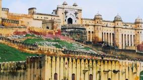Sluit omhoog geschoten van Jaipur Amber Fort stock videobeelden