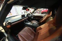 Sluit omhoog geschoten van Mazda mx-5 binnenkant bij de auto van Maleisië van 2017 autoshow Stock Foto