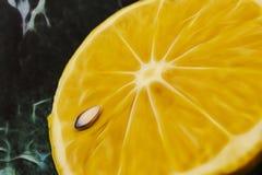 Sluit omhoog gesneden citroen op vloer royalty-vrije illustratie