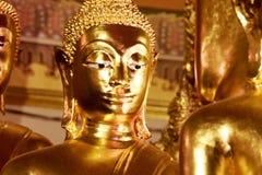 Sluit omhoog gezicht van gouden Boedha Royalty-vrije Stock Afbeelding