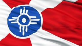Sluit omhoog Golvende Nationale Vlag van de Stad van Wichita vector illustratie