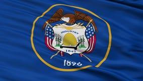 Sluit omhoog Golvende Nationale Vlag van Utah stock video
