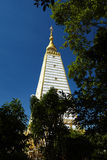 Sluit omhoog gouden en witte pagode Stock Fotografie