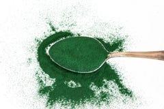 Sluit omhoog groep spirulinapoeder, superfood en detox gezondheid stock foto's