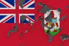 Sluit omhoog grungy, beschadigde en doorstane vlag van de Bermudas bij de muurschil van verf om binnenoppervlakte te zien royalty-vrije stock afbeelding