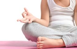 Sluit omhoog handen kid do yoga stock afbeelding