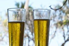 Sluit omhoog het bierglas bij bar Stock Afbeeldingen